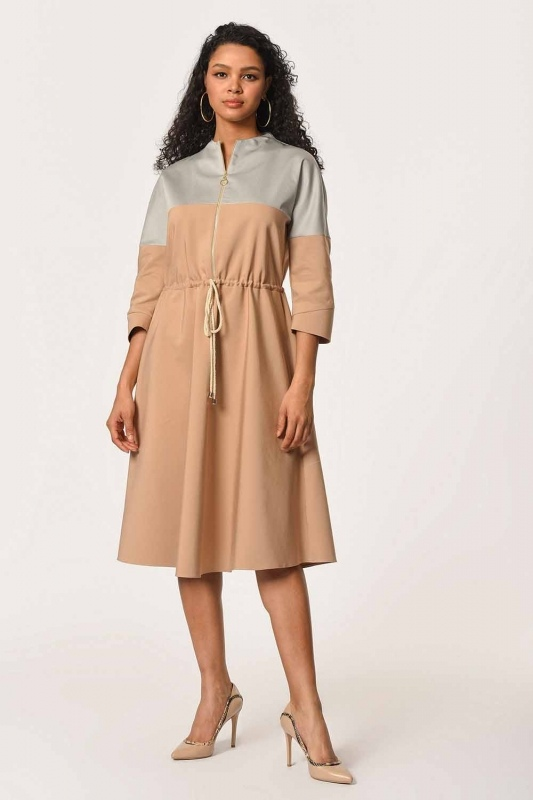Önü Fermuarlı Bağcıklı Bej Elbise