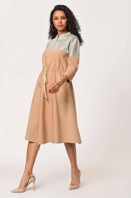 Önü Fermuarlı Bağcıklı Bej Elbise - Thumbnail
