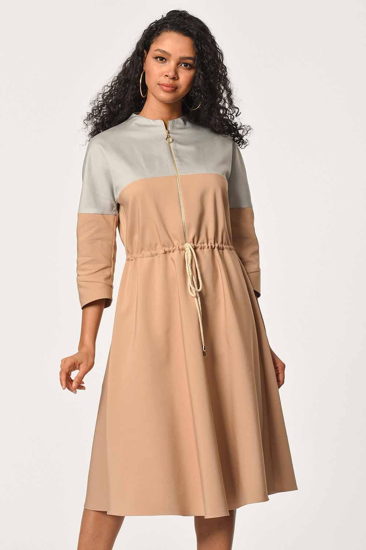 02e41b1a0 Önü Fermuarlı Bağcıklı Elbise Bej I Mizalle
