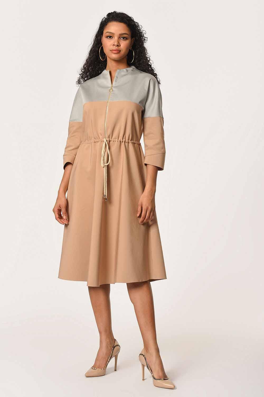 MIZALLE Önü Fermuarlı Bağcıklı Elbise (Bej) (1)