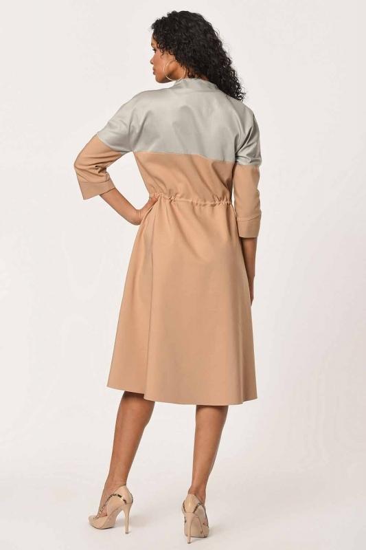 Önü Fermuarlı Bağcıklı Elbise (Bej)