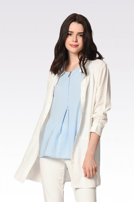 Önü Fermuarlı Kolsuz Bluz (Mavi)