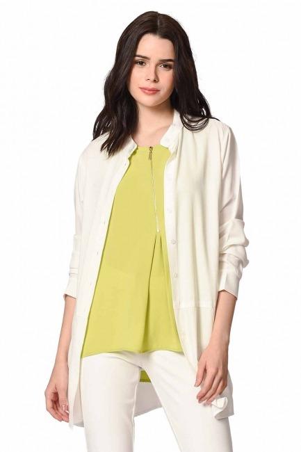 Önü Fermuarlı Kolsuz Bluz (Yeşil) - Thumbnail