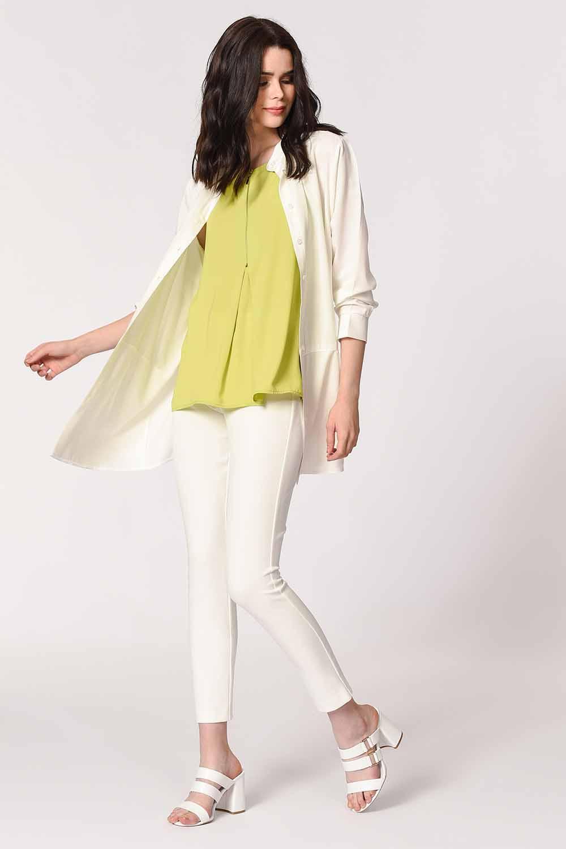 MIZALLE Önü Fermuarlı Kolsuz Bluz (Yeşil) (1)
