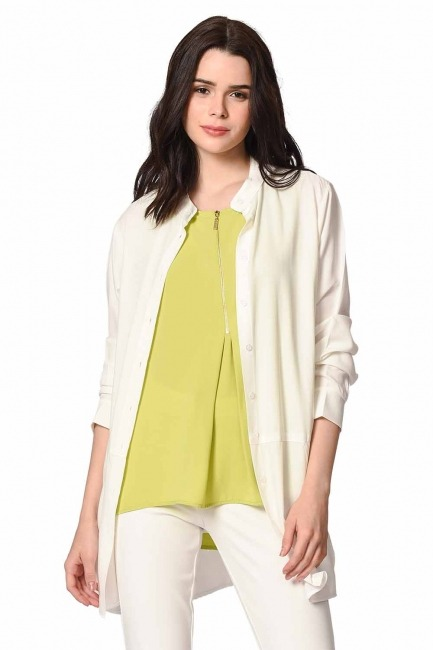 MIZALLE Front Zippered Sleeveless Blouse (Green)
