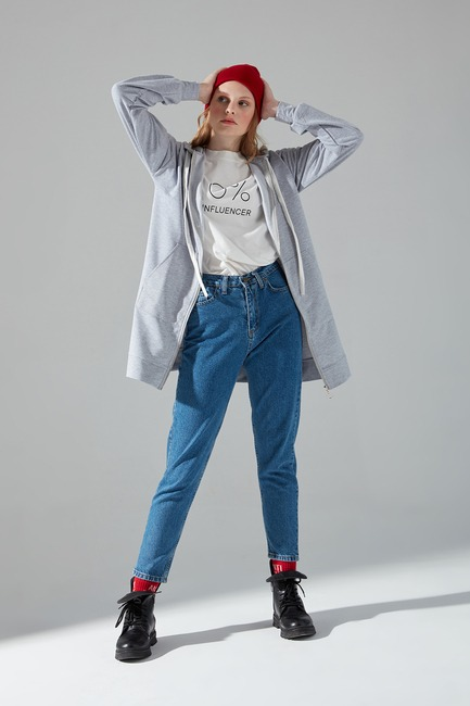 Mizalle - Önü Fermuarlı Sweatshirt (Gri)