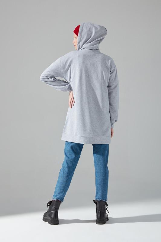 Önü Fermuarlı Gri Sweatshirt
