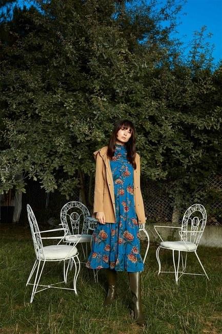 فستان زهري مزركش (أزرق) - Thumbnail
