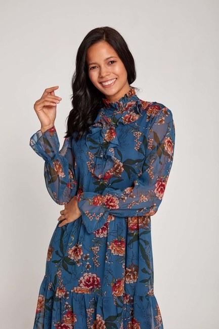 MIZALLE - Önü Fırfırlı Çiçekli Elbise (Mavi) (1)
