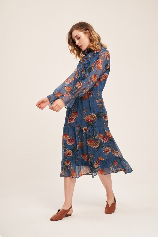 Önü Fırfırlı Çiçekli Elbise (Mavi)