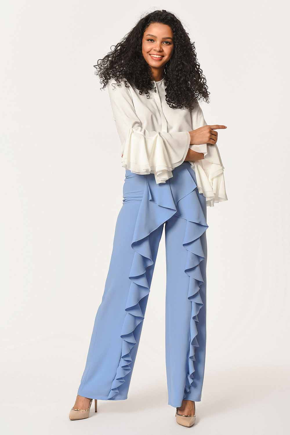 MIZALLE Front Frilly Pants (Blue) (1)