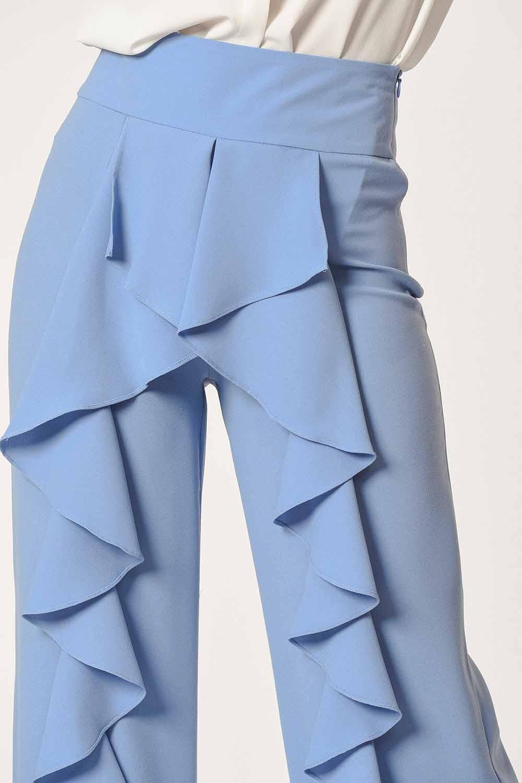 MIZALLE Önü Fırfırlı Pantolon (Mavi) (1)