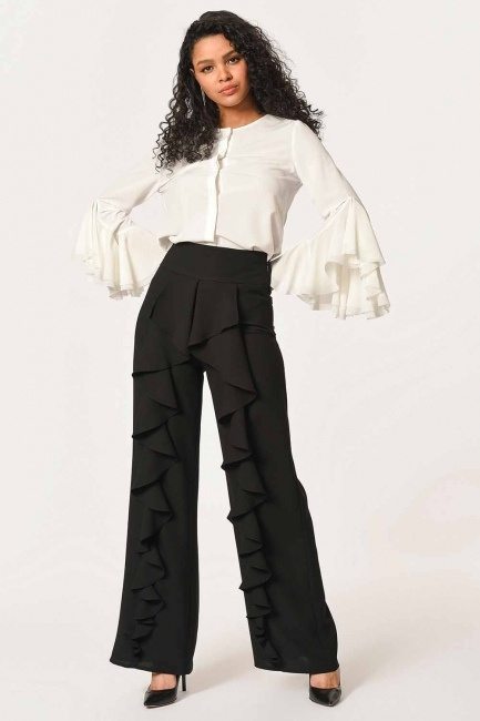 Mizalle - Önü Fırfırlı Pantolon (Siyah)