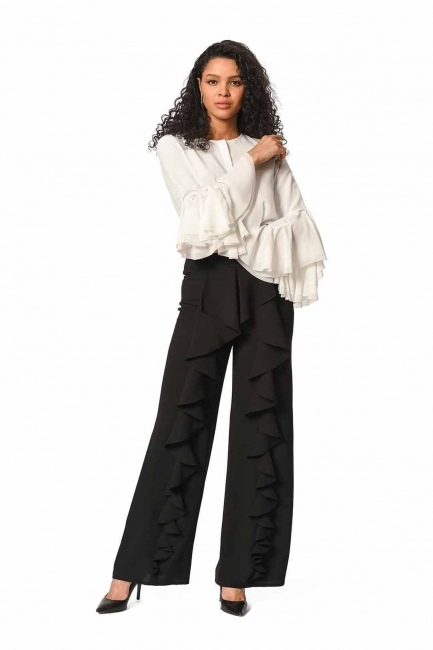 MIZALLE Front Frilly Pants (Black)