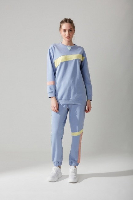 Mizalle - Bisiklet Yaka Mavi Sweatshirt