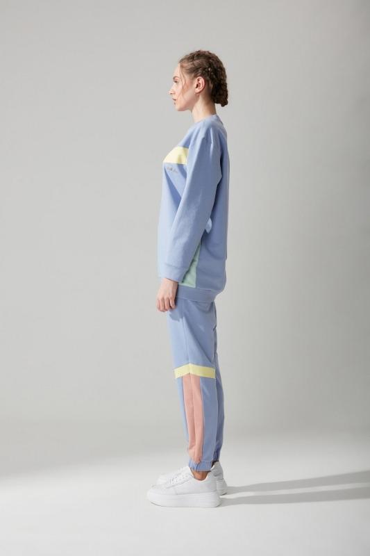 Önü Kesikli Sweatshirt (Mavi)