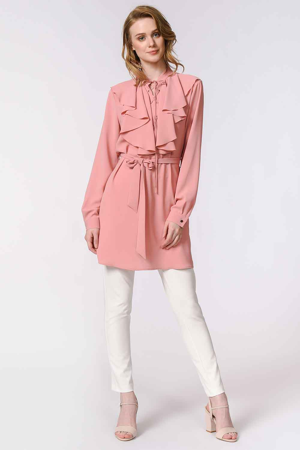 MIZALLE Bird Eyed Laced Blouse (Rose) (1)