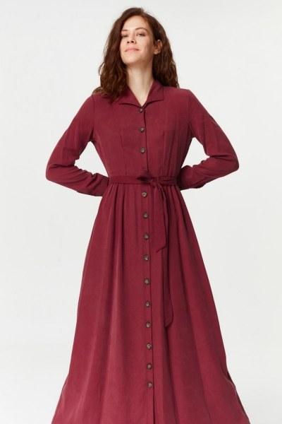 Önü Patlı Elbise (Bordo) - Thumbnail