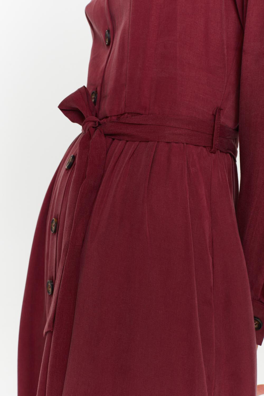 MIZALLE Önü Patlı Elbise (Bordo) (1)