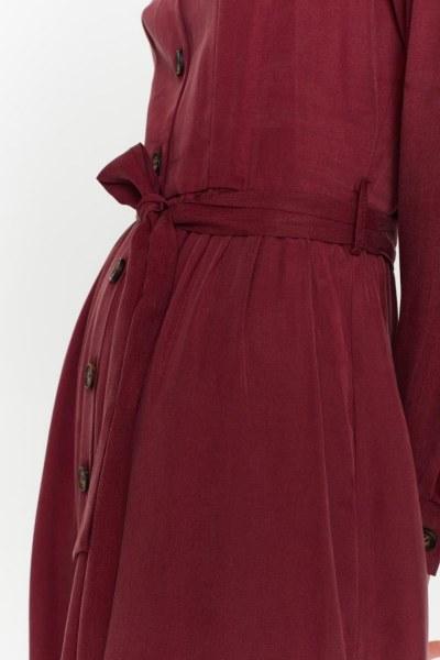 MIZALLE - Önü Patlı Elbise (Bordo) (1)