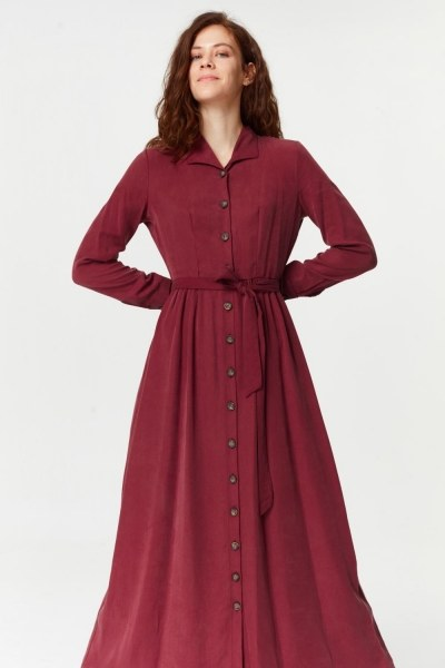 Dress With Extra Front Fabric (Claret Red) - Thumbnail