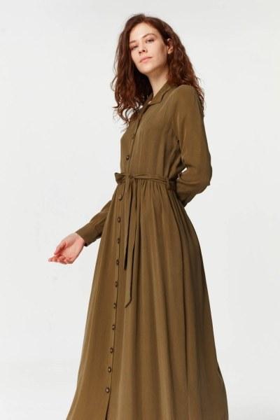 فستان بنسيج أمامي إضافي (أخضر داكن) - Thumbnail