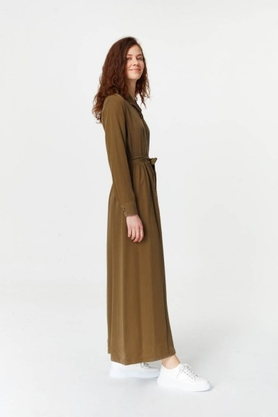 MIZALLE - Dress With Extra Front Fabric (Khaki) (1)