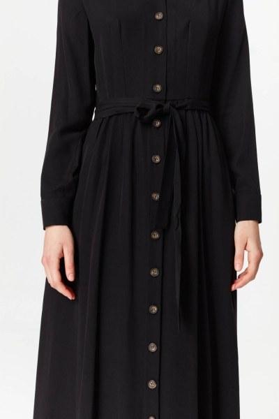 فستان بنسيج أمامي إضافي (أسود) - Thumbnail