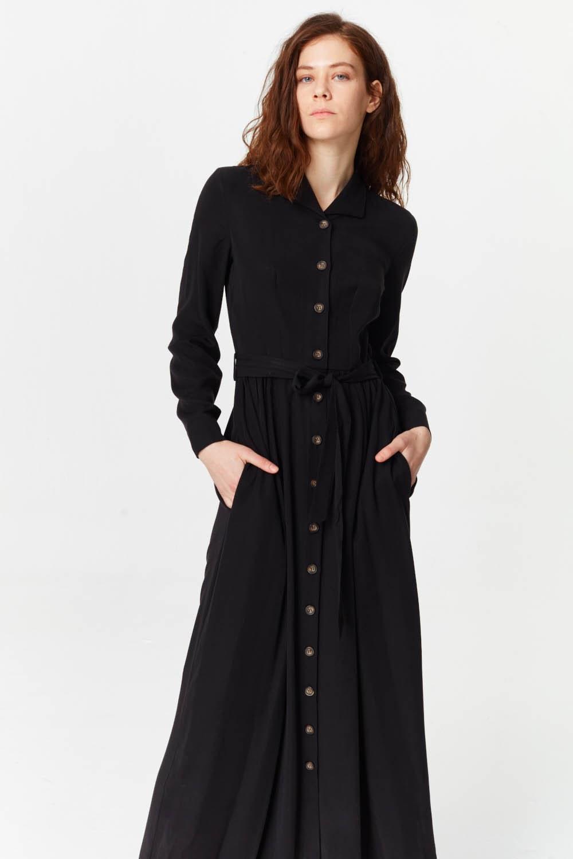 MIZALLE Önü Patlı Elbise (Siyah) (1)