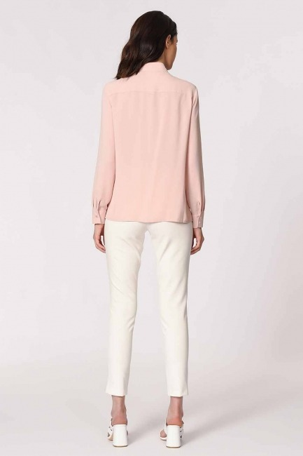 Önü Pul İşlemeli Gömlek Bluz (Pudra) - Thumbnail