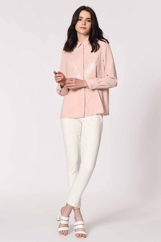 MIZALLE بلوزة قميص مع تفاصيل أمامية (وردي فاتح) (1)