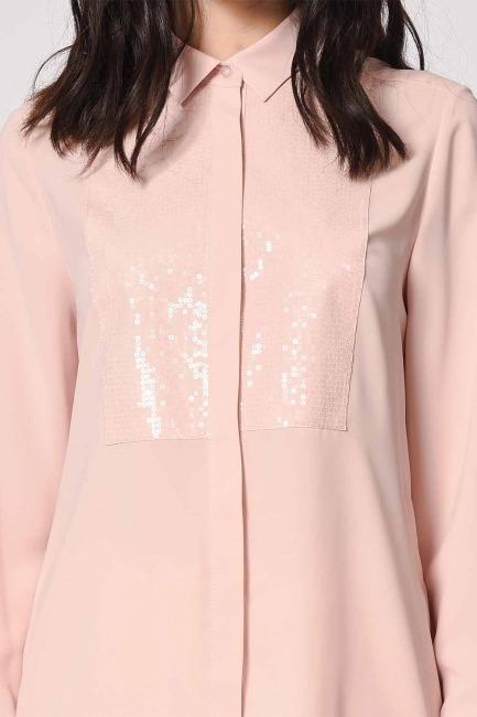 بلوزة قميص مع تفاصيل أمامية (وردي فاتح) - Thumbnail