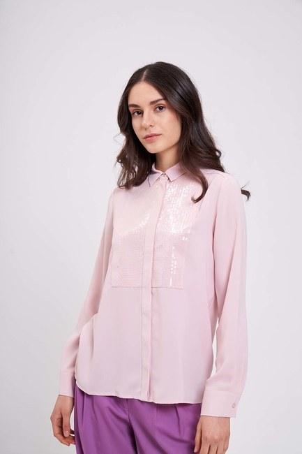 Mizalle - Önü Pul İşlemeli Gömlek Bluz (Pudra)