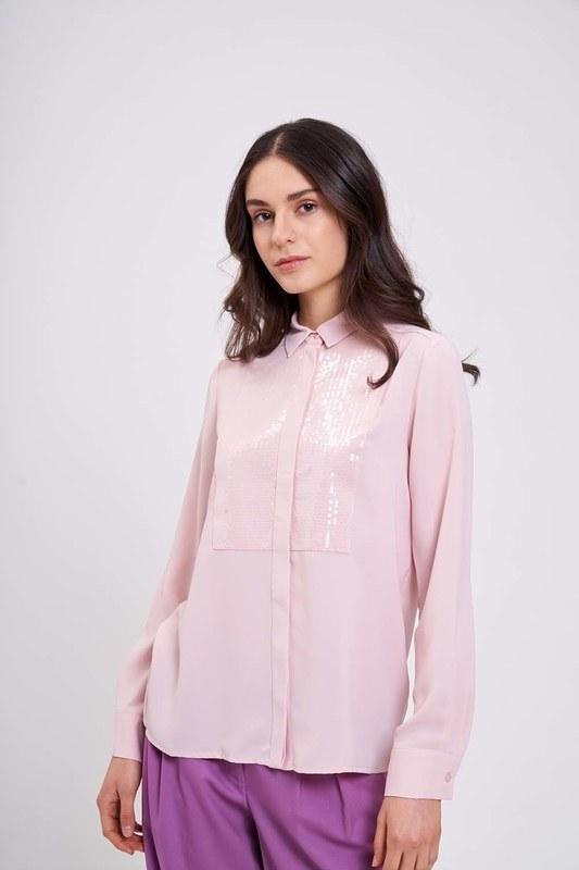 Önü Pul İşlemeli Gömlek Bluz (Pudra)