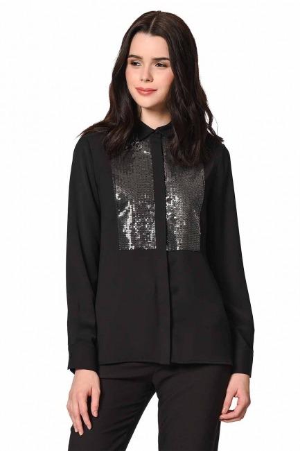 MIZALLE بلوزة قميص مع تفاصيل أمامية (أسود)