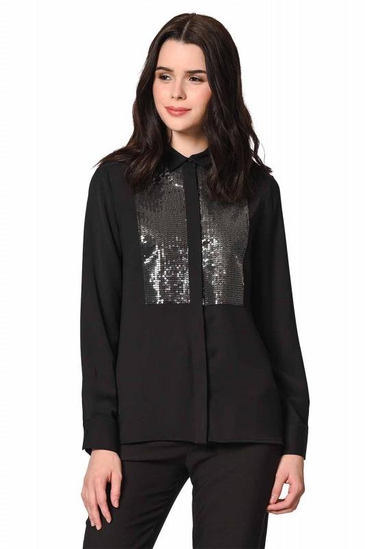 Önü Pul İşlemeli Gömlek Bluz (Siyah)