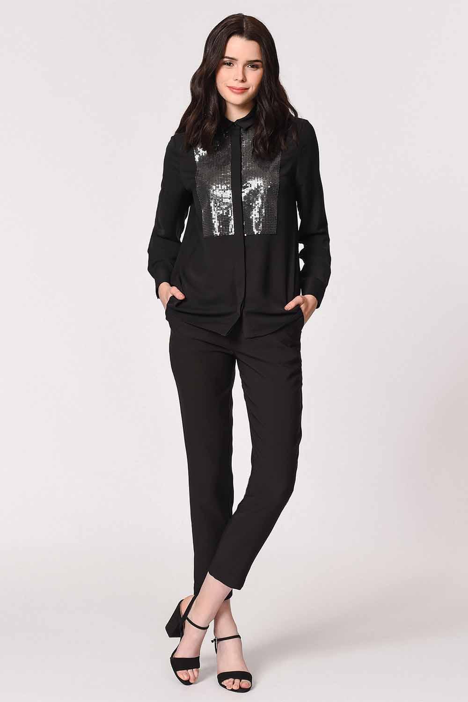 MIZALLE Önü Pul İşlemeli Gömlek Bluz (Siyah) (1)