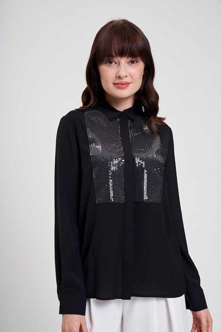 Önü Pul İşlemeli Gömlek Bluz (Siyah) - Thumbnail