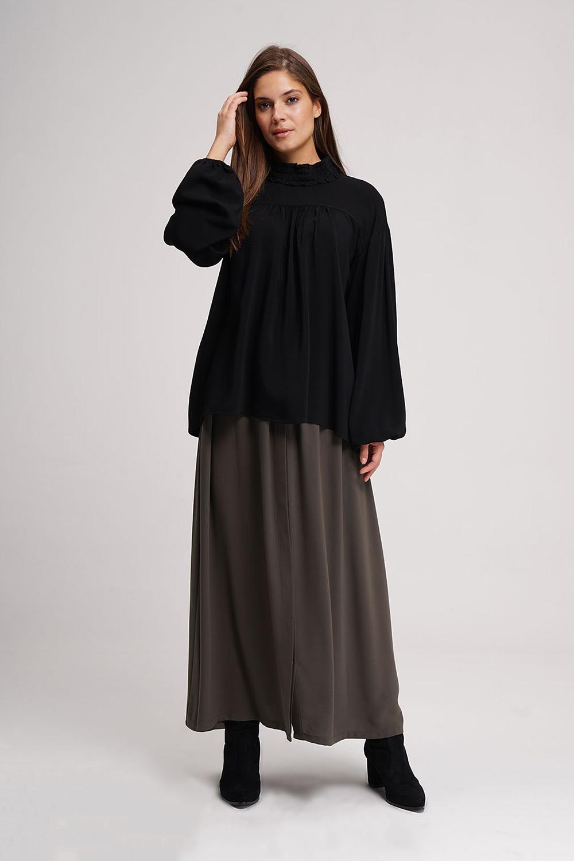 Önü Robalı Bluz (Siyah)