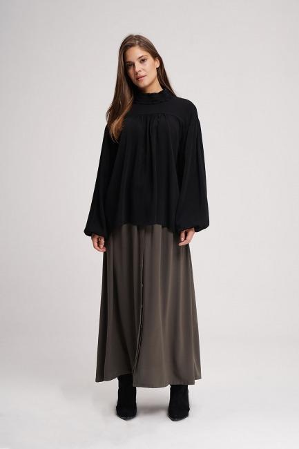Mizalle - Önü Robalı Bluz (Siyah)