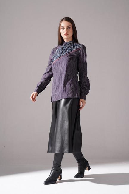 Mizalle - Önü Şerit Detaylı Bluz (Gri)