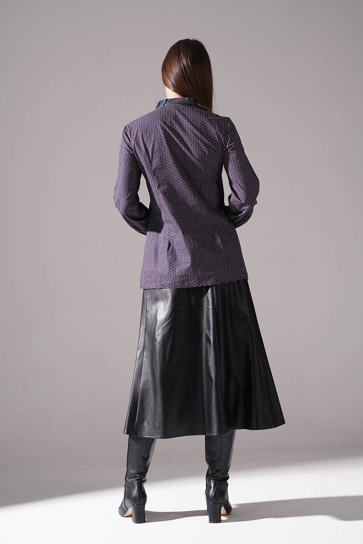 Önü Şerit Detaylı Bluz (Gri)