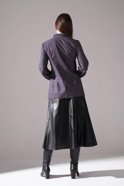 Önü Şerit Detaylı Bluz (Gri) - Thumbnail