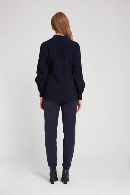 Önü Şerit Detaylı Bluz (Lacivert) - Thumbnail