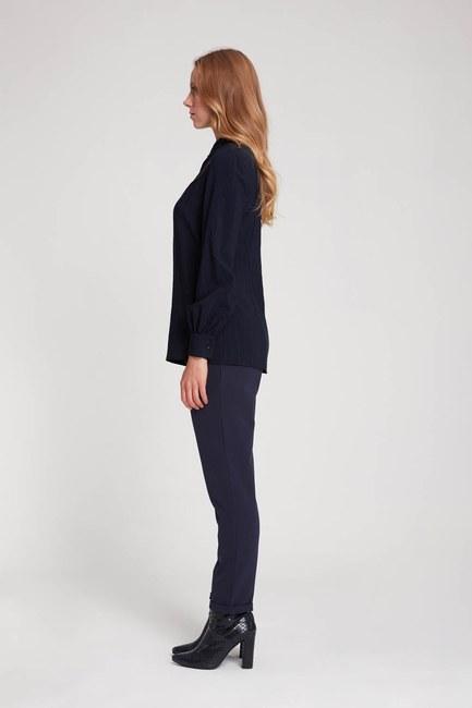 MIZALLE - Önü Şerit Detaylı Bluz (Lacivert) (1)