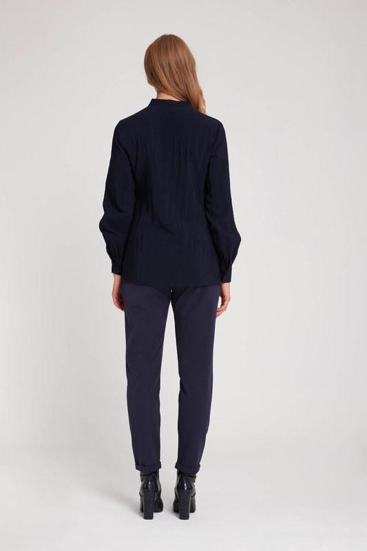Önü Şerit Detaylı Bluz (Lacivert)