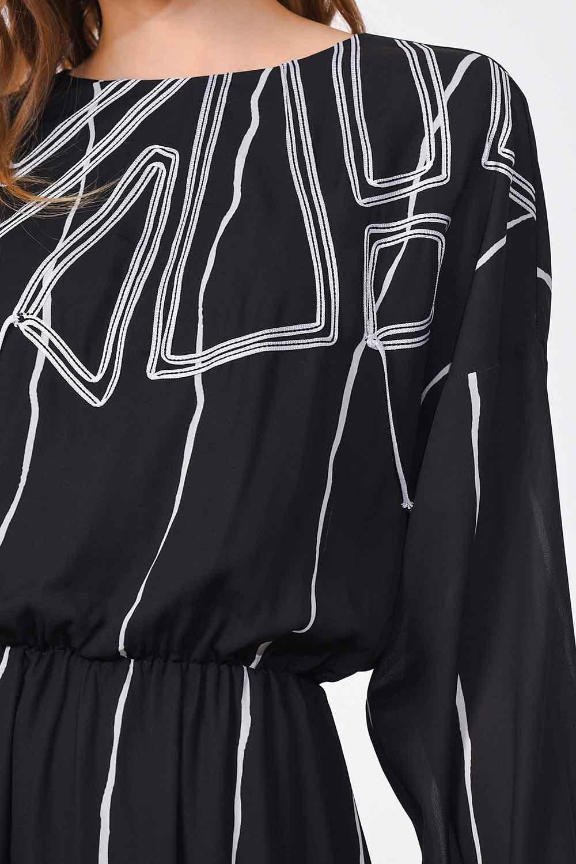 MIZALLE فستان طويل مع تصميم على الجبهة (أسود) (1)