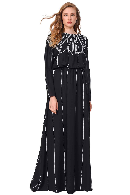e3ab687ca3bbd Önü Tasarım Detaylı Uzun Elbise (Siyah) I Mizalle