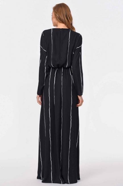 Önü Tasarım Detaylı Uzun Elbise (Siyah) - Thumbnail
