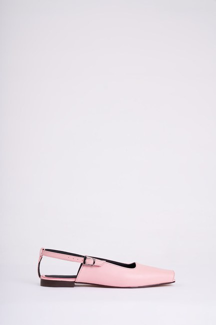 Mizalle - حذاء مسطح مفتوح من الأمام ( وردي ) (1)